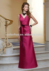 Berry Silky Taffeta V-neck gown with Tie Sash Floor Length Bridesmaid Dress
