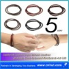Optional Colors Rope Woven Leather Stainless Steel Bracelet Wristband Hot Gift