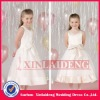 FGD001 2012 big bow tea length satin flower girl dresses