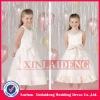 FGD001 2012 big bow tea length satin flower girl dresses