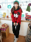 Leisure Fashionable Hooded Look Sports Suits Eyes Printed Tracksuit Red BJ12082018