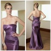 Strapless Purple Taffeta Beaded Ruffle Sexy Mother Of The Bride Dresses