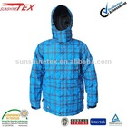 Men's Professional bule checked waterproof winter ski wear