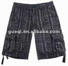 mens button fly check shorts