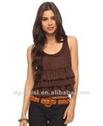 Ladies Fashion Layer Pleated Front Summer Tops