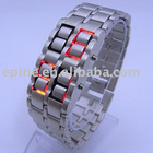100%NEW Lots of sales Lava Style Iron Samurai Red &Blue LED Metal Fashion Watch