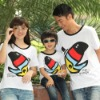 White color 100%cotton printed short sleeve family matching t-shirt