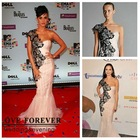 Black Lace Pink Tulle One Shoulder Long Celebrity Mermaid Dress Evening