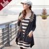 Draped Cardigan sweater,fur collar,long sleeve,WS1104