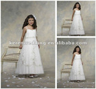 White Organza Embroidery Ankle Length Flower Girls Dress