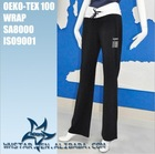 Women pants with white elastic waistband and drawstring