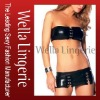 Vinyl Sleek Mini Skirt with Bandeau Top clubwear