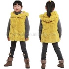 YR-480 Genuine girl's rabbit fur hoodie Children's fur vest