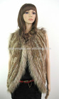 Lady fashion knitted rabbit fur vest with raccoon dog fur trimmings