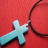 2012 Fashion Natural semi-precious Turquoise stone Cross Necklace jewelry
