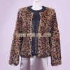 Fabbit Fur Coat/Jacket Leopard leather collar & side Italian design 2012-2013 newest fashion