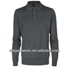 Men's Grey Long Sleeve Knitted Polo Shirt 3360