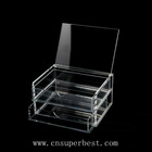 transparent acrylic jewelry display case with 2 tiers and a lid