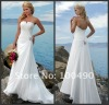 N118 pleat ruched vintage chiffon sexy summer beach bridal wedding gown 2012