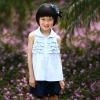 100% cotton sky blue sleeveless girls summer blouse with drape,European material,child clothing