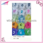 solid flower alphabet beads with colorful words