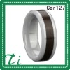 Cer127 White Ceramic 8mm inlay koa wood engagement rings