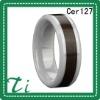 Cer127 White Ceramic 8mm inlay koa wood engagement rings