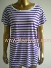 water base ink allover printed striped O neck Tshirt