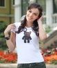 100% Cotton cute women embroidery t-shirt(WTR006)