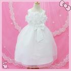 White embroidery wavy child dress