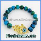Greek Hamsa Hand Of Fatima Stretch Evil Eye Charm Bracelet With Green Jade Beaded Stretch Jewelry PHB-079