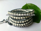 4mm Natural white howlite on 1.5mm dark grey leather cord