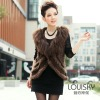Popular Lady's Mongolian Fur vest with lambs wool collar Camel