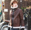 Fashion Fur Collar Color Block Warm Leather Coat Brown QM12092610