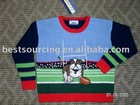 infant & toddler autumn hoiday kids clothing 7gg intarsia knitted dog & football pattern children pullover boy's sweater BS-55