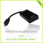 MHL adapter to HDMI TV,female micro usb adapter,Micro USB to HDMI MHL Adapter with HTC One/LG Nitro HD