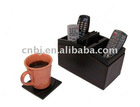 Leather Office Remote_control_box with coaster