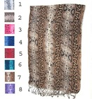 snake printed cheap long scarves with fringes