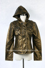 lady leather jacket, hooded, CF button ,chest pocket+button, shoulder badge+button