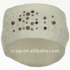 white knitted headband with pearl ccap-1047
