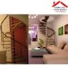 elegant galvanized steel and wood weneer residential spiral stair