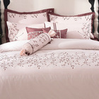 Brown and cream white leaf embroidery bedding sets/bed cover bed sheet and duvet cover sets factory in Shanghai,China