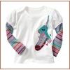 New Design Applique Girls 100% Cotton Long Sleeve O-Neck T-shirt