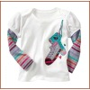 New Design Applique Girls 100% Cotton Long Sleeve O-Neck T-shirt