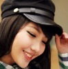 eb0817 Hotsale Cotton Womens Peaked Cap With Leather Brim