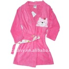 Deep pink pure cotton towelling with strong water-sucking& cute embroidered animal cat pattern bath gown