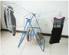 Blue and white folding clothes hanger rack