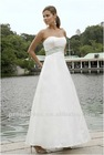 Elegant A-Line Strapless Embroidered Band at Waist Satin Bridesmaid Dress BD087