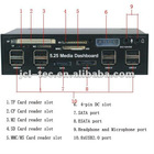 5.25 Media Dashboard PCI-E to USB 2.0 Multi-function usb hub combo card reader driver with sata slot and fan controllers