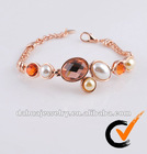 Fashion jewellery shell pearl and crystal bracelet with rose gold plated